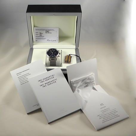 IWC Portofino Chronograph Box Papers Black Day Date Full Set Watch IW391010