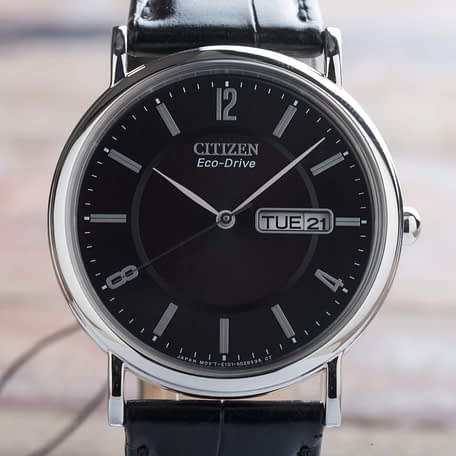 Citizen Eco-Drive Day Date Black Stepped Dial Stainless Steel Watch BM8240-03E