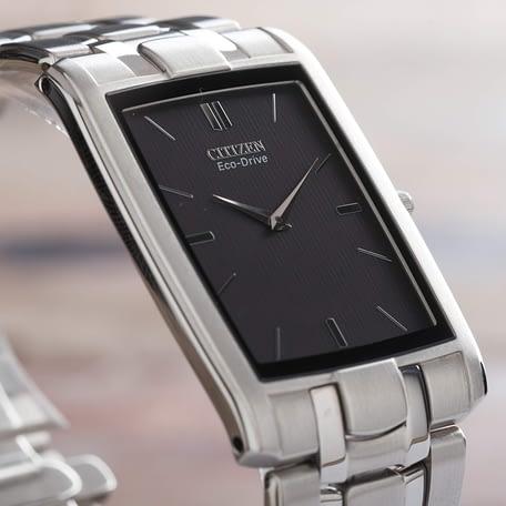 Citizen Men's Stiletto Eco Drive Rectangle Black Dial Watch AR3030-50E