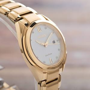 Citizen Ladies Celestial Diamond Gold Tone Date Eco Drive Watch EM0312-57A