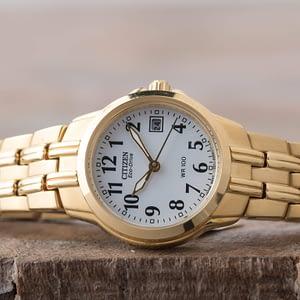 Citizen Women's Eco-Drive Silhouette Sport Date Gold Tone Watch EW1542-59A
