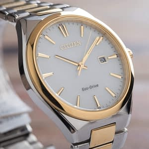 Citizen Corso Mens Two Tone Date Eco Drive Stainless steel Watch BM7314-55A