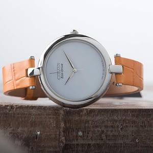 Citizen Eco-Drive Silhouette Ladies Orange Leather Strap Watch EM0250-01A