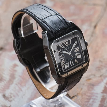 Cartier Santos 100 Black Steel ADLC Automatic Roman Dial Midsize Watch 2878