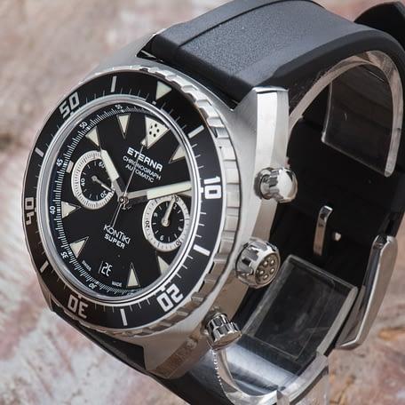 New Eterna Super KonTiki Chronograph Manufacture Automatic Black watch 7770.41